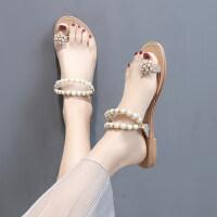 户外女士凉鞋仙女风时尚百搭平底串珠配长裙的女鞋子