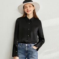 【到手价:161元】Amii极简高级气质缎面衬衫2020春季新款百搭衬衣长袖纯色上衣女