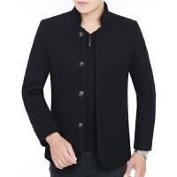 冬季新款中年男士羊毛大衣外套爸爸装立领呢子外套厚款短款