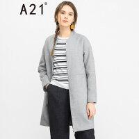 以纯线上品牌a21 秋冬新品女装宽松中长款夹棉外套百搭毛呢大衣4632119005