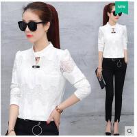 新款韩版泡泡袖蕾丝打底衫女上衣秋装长袖显瘦白色小衫  可礼品卡支付
