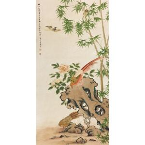 佚名《竹林花鸟》纸本立轴