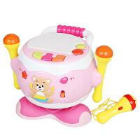儿童电动旋转木马音乐拍拍鼓6-12个月宝宝手拍鼓婴儿玩具
