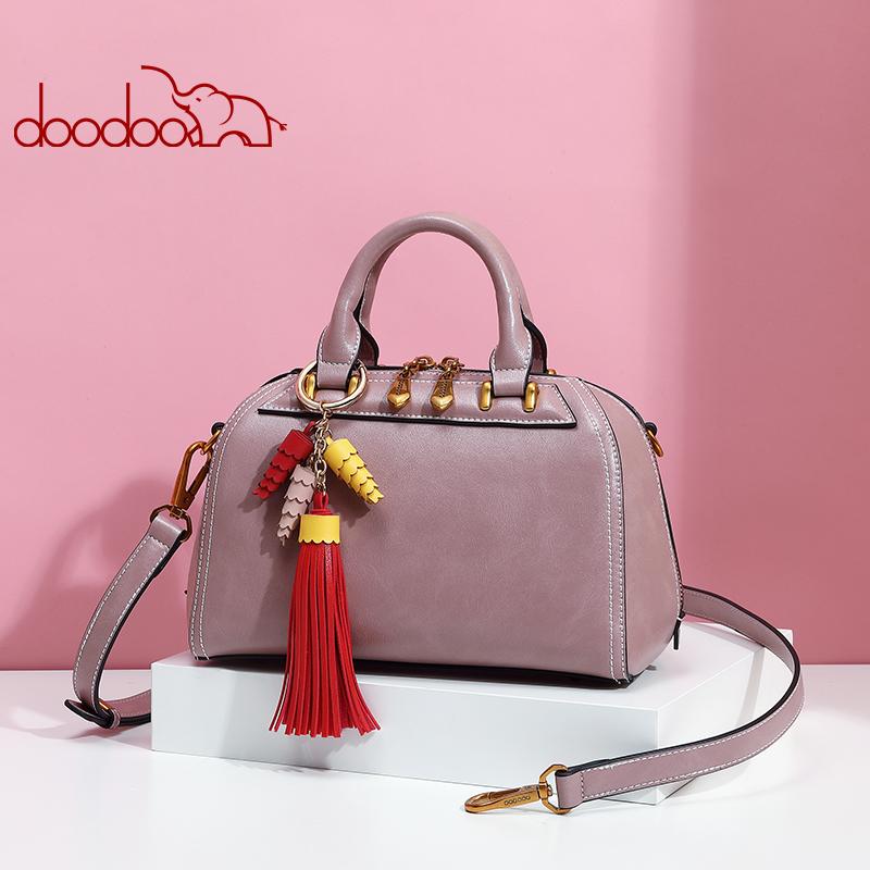 【2件99元】doodoo包包女2019新款时尚大气波士顿包女士手提包包复古流苏女包 支持使用*支付