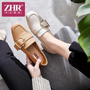 ZHR单鞋女粗跟方头浅口女鞋韩版时尚豆豆鞋2018年秋季新款