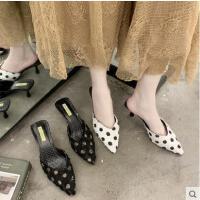 抖音同款韩版新款高跟细跟尖头包头波点女鞋拖鞋性感女半拖凉拖女
