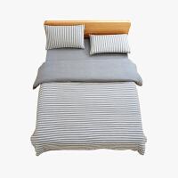 当当优品家纺 全棉日式针织床品 1.5米床 床笠四件套 条纹烟灰