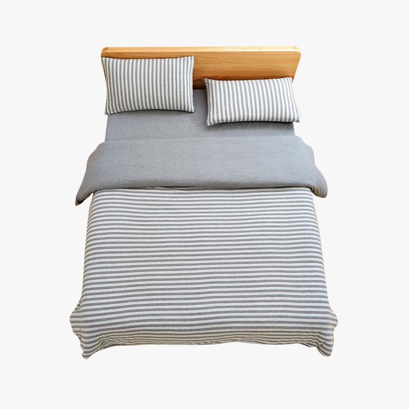 当当优品家纺 全棉日式针织床品 1.5米床 床笠四件套 条纹烟灰当当自营 MUJI制造商代工