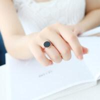 韩版简约黑色镀18K玫瑰金钛钢戒指关节戒尾戒情侣女饰品指环介子