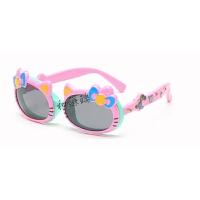 新款男女童时尚偏光儿童太阳眼镜Hellkitty可爱翻盖宝宝墨镜1-6岁 湖蓝框粉腿 送眼镜盒