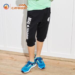 CAMKIDS2018夏季新款男童户外休闲运动裤透气中大童速干裤七分裤