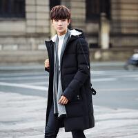 羽绒服男士中长款冬季韩版加厚青年连帽休闲反季新款帅气潮流大衣 005黑色