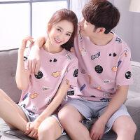 情侣睡衣纯棉短袖夏季韩版睡衣男女士可爱全棉薄款夏天家居服套装