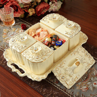 ????中秋特惠欧式干果盘陶瓷分格带盖干果盒大号糖果零食盘客厅水果盘结婚礼物