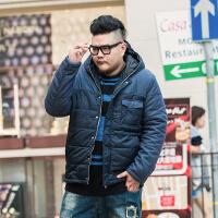 2017新款冬装加肥加大码男士 胖子胖人大号棉衣男装外套上衣 蓝色