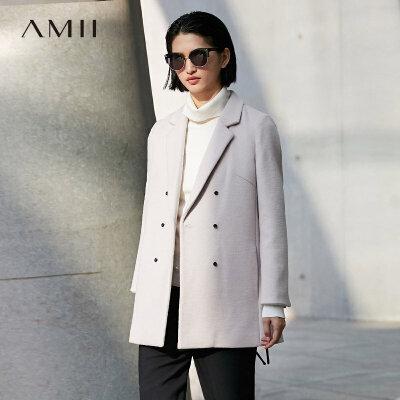 【品牌团 1件7折/2件5折】Amii[极简主义]当代帅气 双排扣羊毛呢外套女 冬季纯色中长款大衣