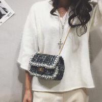 小包包女 韩版时尚毛呢链条小方包单肩包斜挎包