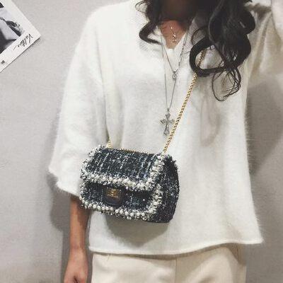 小包包女 韩版时尚毛呢链条小方包单肩包斜挎包 品质保证 售后无忧 支持货到付款