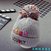 秋冬宝宝儿童加厚毛线帽子 韩版男童球球帽 新款女童帽