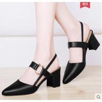 雅诗莱雅秋季新款时尚职业女鞋子韩版百搭浅口粗跟单鞋黑色尖头高跟鞋YS-3283-S