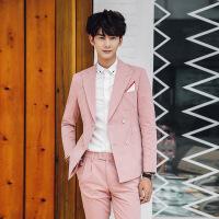 春季粉色男士发型师休闲小西装韩版修身夜店走秀双排扣西服套装潮