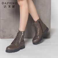达芙妮秋冬季时尚休闲女靴系带女鞋圆头舒适粗低跟拉链马丁靴短靴
