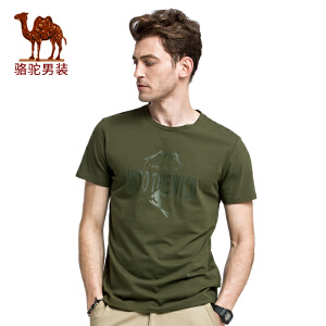 骆驼男装 男士夏装新款t恤短袖男潮夏天半袖圆领印花体恤衫上衣