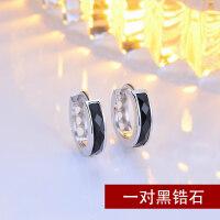 男士耳钉单只潮男黑色气质韩国个性创意十字架925纯银耳环情侣