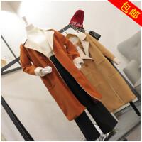 冬季韩版POLO领中长款长袖一粒扣风衣外套女 50975