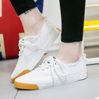 匡王秋季透气帆布鞋女学生韩版休闲鞋平底穿托两用小白鞋女鞋