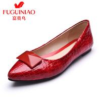 富贵鸟 年春季新品单鞋 时尚头层牛皮尖头舒适轻盈平底女单鞋女鞋