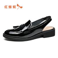 【红蜻蜓限时抢购,1件2折】红蜻蜓女单鞋春季新款正品时尚漆皮圆头日常休闲女鞋子