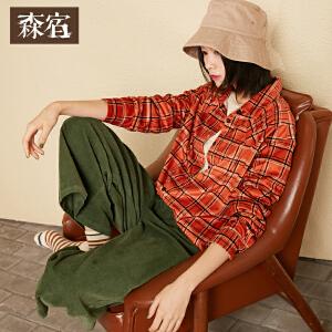 森宿P格纹棋盘冬装新款文艺复古格纹直筒绒感修身长袖衬衫女