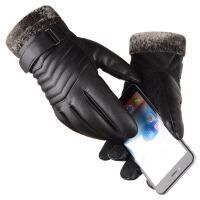 皮手套男士冬季骑行加厚加绒保暖防风防水触屏户外手套骑车摩托车 均码