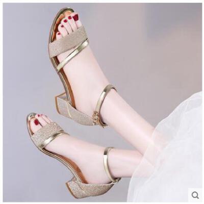 古奇天伦新款夏季女鞋女士中跟粗跟一字带高跟鞋子一字扣凉鞋GEG8691 品质保证  售后无忧