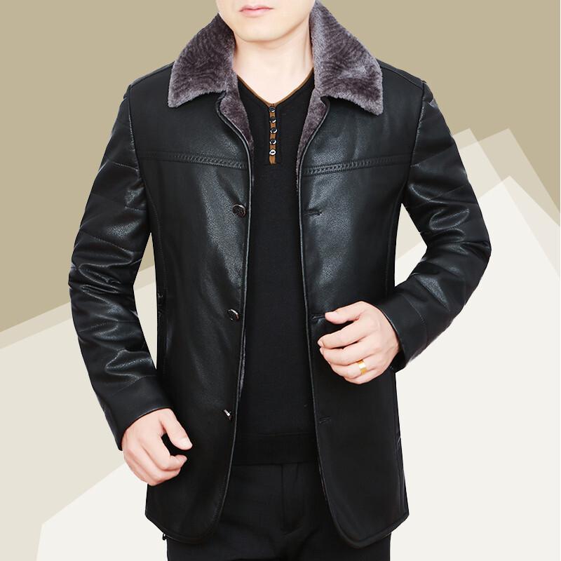 皮毛一体男真皮皮衣绵羊皮加绒加厚中年男士翻领皮夹克外套冬 58655黑色 5/80A 一般在付款后3-90天左右发货,具体发货时间请以与客服协商的时间为准