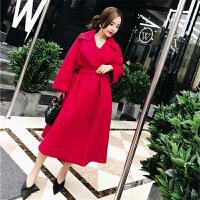 红色呢子大衣女原宿风中长款秋冬装新款毛呢外套系带收腰显瘦 红色