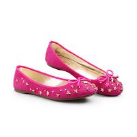 伊贝拉(YI-BELLA) 新款单鞋真皮磨砂皮浅口蝴蝶结星星扣甜美混搭平跟女鞋