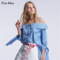 Five Plus女装格子衬衫女宽松中长款露肩衬衣纯棉蝴蝶结潮