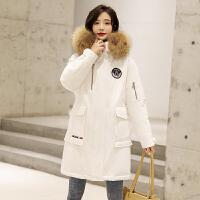 【1件3折 到手价:649元】高梵羽绒服女中长款2019新款白鸭绒工装大毛领白色时尚冬装外套潮