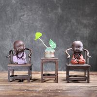 禅意小和尚紫砂茶宠摆件精品 可养创意陶瓷手工家居装饰品茶玩