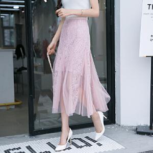 2018夏季新款韩版网纱拼接高腰蕾丝包臀裙鱼尾半身裙