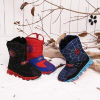 彼得潘童鞋2018冬季新款男童加绒防滑保暖儿童大童时尚鞋靴雪地靴P526