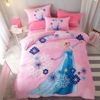 卡通米奇加厚保暖法莱绒床上四件套珊瑚绒儿童床单被套三件套冬季