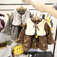 【低折】1-3岁女宝宝加绒连衣裙女童秋冬装长袖假两件女婴儿裙子