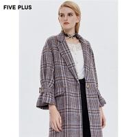 Five Plus新款女冬装格子西装大衣女长款呢料外套潮宽松系带翻领
