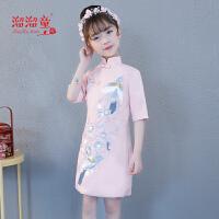 儿童礼服唐装中国风公主裙连衣裙长袖夏装小孩演出服女童旗袍夏季