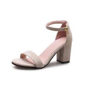 ELEISE美国艾蕾莎新品098-76-1韩版磨绒高跟粗跟女士凉鞋