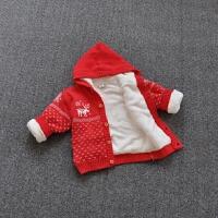 秋冬女童开衫毛衣加绒圣诞宝宝羊羔绒保暖针织加厚连帽外套纯棉线