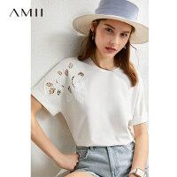Amii极简优雅镂空短袖T恤2021夏季新款40支拉架棉白色上衣女chic